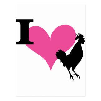 I gallo del corazón tarjeta postal