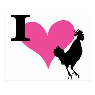I gallo del corazón tarjetas postales