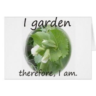 I Garden Therefore I am with pea blossom Greeting Card