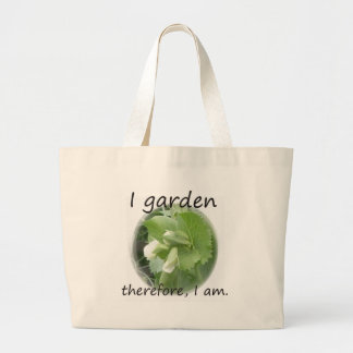 I Garden Therefore I am with pea blossom Tote Bag