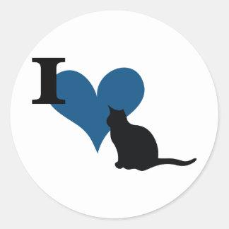 I gato del gatito del corazón pegatina redonda