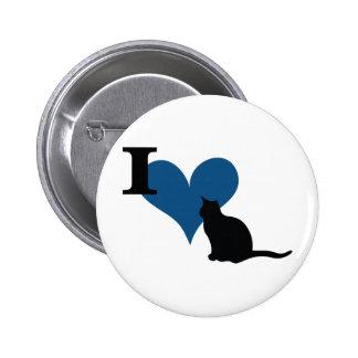 I gato del gatito del corazón pin redondo de 2 pulgadas