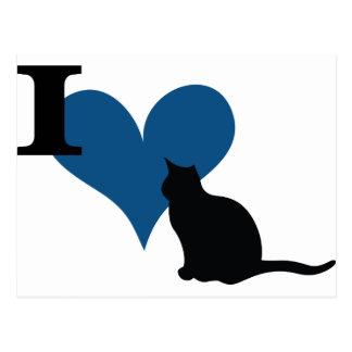 I gato del gatito del corazón postales