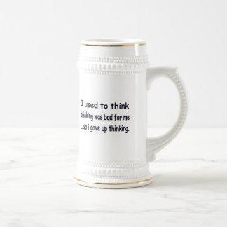 I gave up thinking. coffee mug