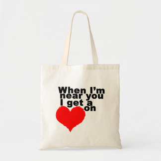 I Get a Heart On Funny Valentine Budget Tote Bag