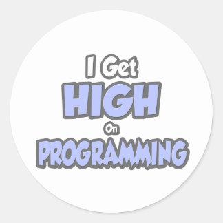 I Get High On Programming Classic Round Sticker