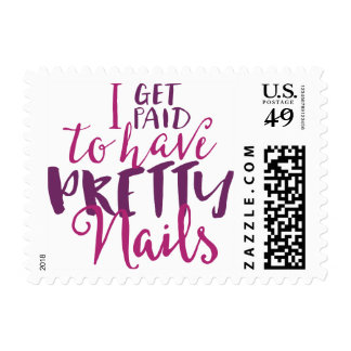 """I Get Paid To Have Pretty Nails 1.8"""" x 1.3"""" Stamps"""