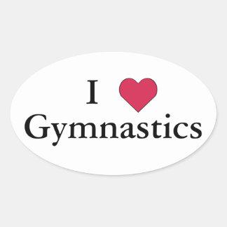 I gimnasia del corazón calcomanía ovalada