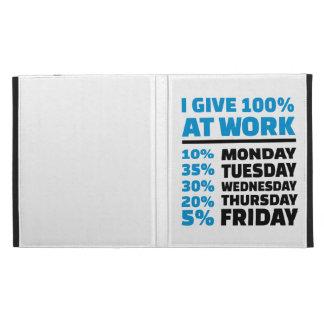 I give 100% at work iPad folio covers