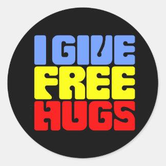 I Give Free Hugs Round Sticker