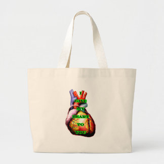 I Give My Heart To You Black Green The MUSEUM Zazz Jumbo Tote Bag