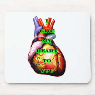 I Give My Heart To You Black Green The MUSEUM Zazz Mouse Pad