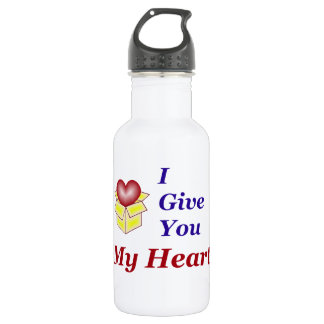 I Give You My Heart - Blue Water Bottle