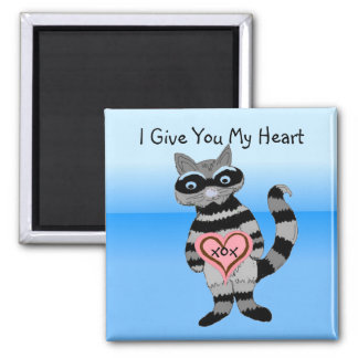 I Give You My Heart Raccoon 2 Inch Square Magnet