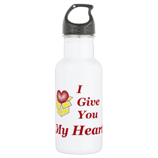 I Give You My Heart - Red Water Bottle