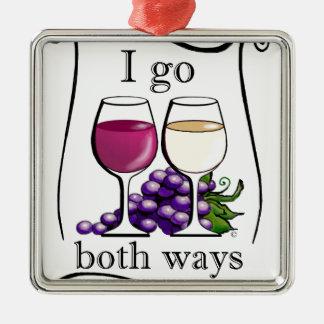 I Go Both Ways! Square Metal Christmas Ornament