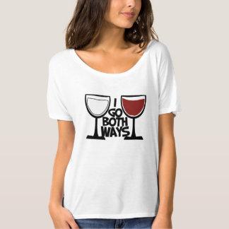 I go both ways wine drinker humor t shirt