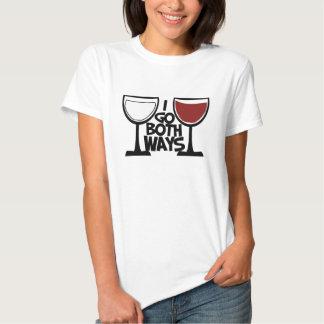 I go both ways wine drinker humor t-shirt