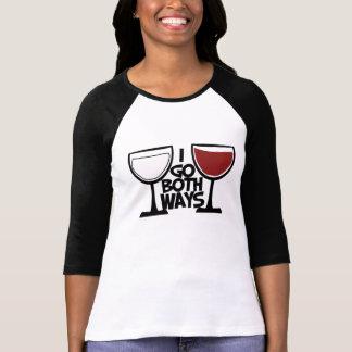 I go both ways wine drinker humor tee shirt
