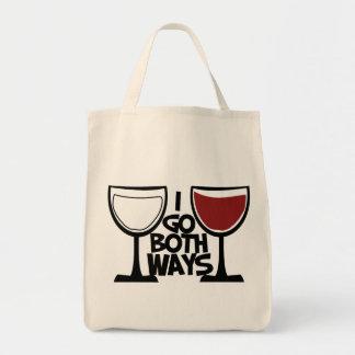 I go both ways wine drinker humor tote bag