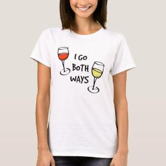 I Go Both Ways Wine Glasses T-Shirt