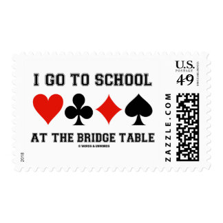 I Go To School At The Bridge Table (Card Suits) Postage