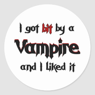 I got bit by a Vampire Classic Round Sticker