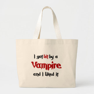 I got Bit by a Vampire Large Tote Bag