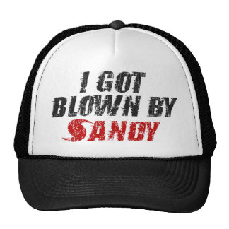 I Got Blown By Sandy Distressed Hurricane Sandy Hats