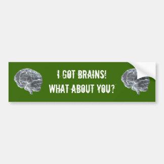 I got brains bumper sticker
