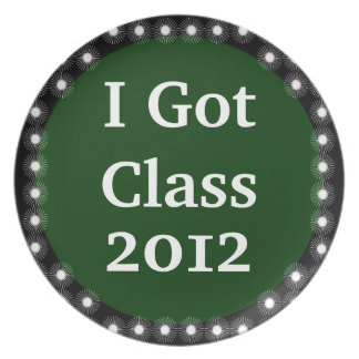 I Got Class Green and White Dinner Plate