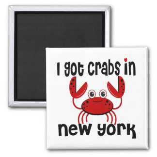 I Got Crabs in NY 2 Inch Square Magnet