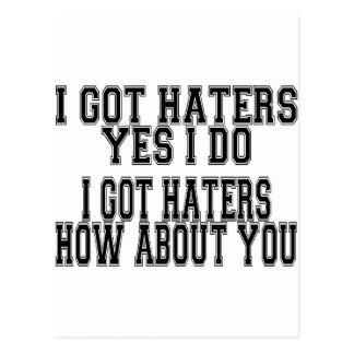 I GOT HATERS POSTCARD