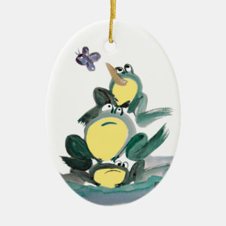 I Got it! yells the Frog on Top - Sumi-e Double-Sided Oval Ceramic Christmas Ornament