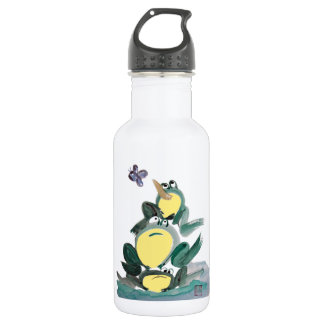 I Got it! yells the Frog on Top - Sumi-e Stainless Steel Water Bottle