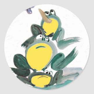 I Got it! yells the Frog on Top - Sumi-e Round Stickers