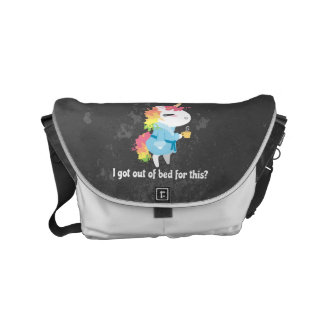 I got out of bed for this? Snarkles the Unicorn Small Messenger Bag