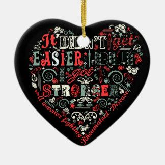 I got stronger heart Double-Sided heart ceramic christmas ornament