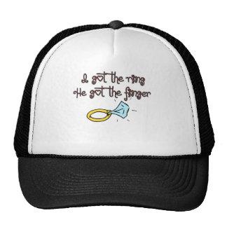 I Got The Ring He Got The Finger Diamond Ring Trucker Hat