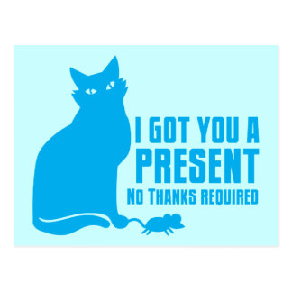 I GOT YOU A PRESENT cat NO THANKS REQUIRED Postcard
