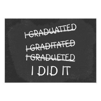 I Graduated Funny Misspelling Humor Chalkboard Personalized Invitations