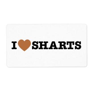I gráfico divertido de Sharts del corazón Etiquetas De Envío