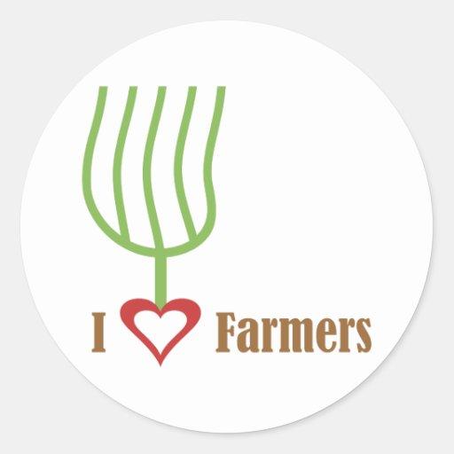 I granjeros del corazón pegatina redonda