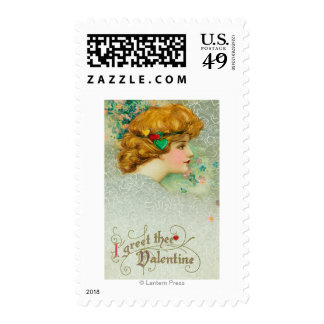 I Greet Thee Valentine Woman Stamp