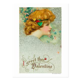 I Greet Thee Valentine Woman Postcard
