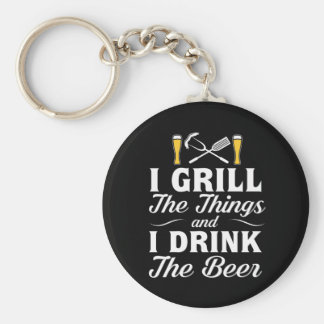 I Grill Drink Beer BBQ Drinking Beer Keychain