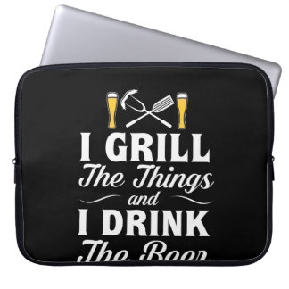 I Grill Drink Beer BBQ Drinking Beer Laptop Sleeve