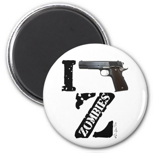 I Gun Zombies Fridge Magnets