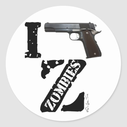 I Gun Zombies Round Stickers