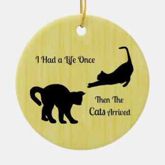 I Had A Life Once Cat Round Ornament